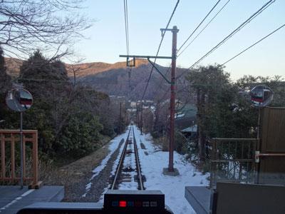 箱根登山鉄道の一番前の席に着席