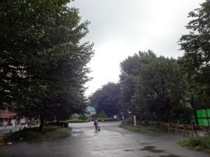 朝の新宿御苑の新宿門